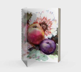 Aperçu de Flowers, Peach, and Plum. Watercolor Bouquet. Fruits. Still-Life