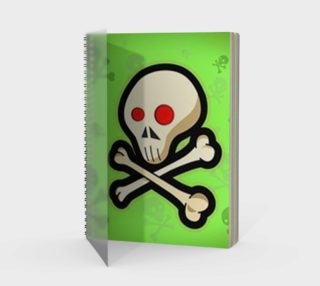 Cartoon Skull On Green Spiral Notebook preview