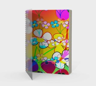 Abstract Colorful Flower Art Yellow Background Spiral Notebook aperçu