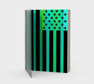 Turquoise and Black American Flag Spiral Notebook preview