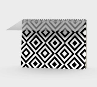 Aperçu de Black and White Geometric Spiral Notebook