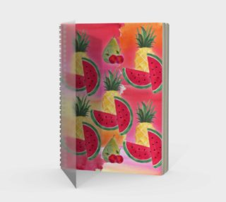 Watercolor Fruit Watermelon Pineapple Pear Cherry Spiral Notebook preview