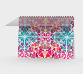 Pink and Blue Kaleidoscope Spiral Notebook - Landscape preview