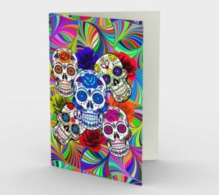 Sugar Skulls Circular Colorful Geometric Abstract Greeting Card preview
