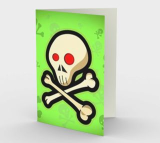 Cartoon Skull On Green Stationary greeting Card preview