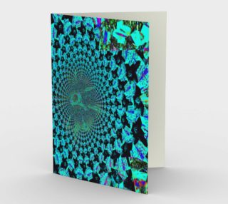 Turquoise Flower Fractal and Kaleidoscope Art Blank Greeting Card preview