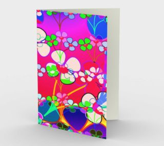 Abstract Colorful Flower Pink Background Art Greeting Card  preview