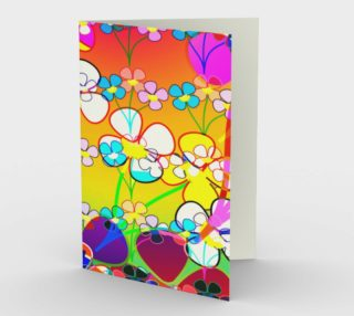Abstract Colorful Flower Art Yellow Background Greeting Card preview