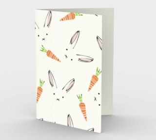 Easter Bunnies and Carrots Stationary Card preview
