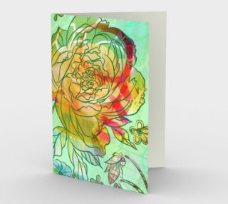 1235 Pearly Peony Blank Stationery Card by Deloresart preview
