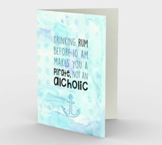 1274 Pirate, Not An Alcoholic Stationery Card by Deloresart preview