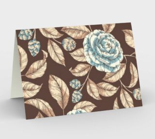 Gorgeous Vintage Floral Illustration, Blue and Brown preview