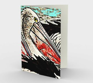 Grunge Pelican Art Stationary Note Card preview
