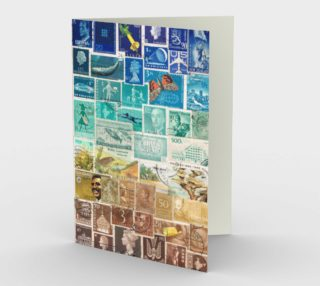 Beachy - Postage Stamp Collage Note Card preview