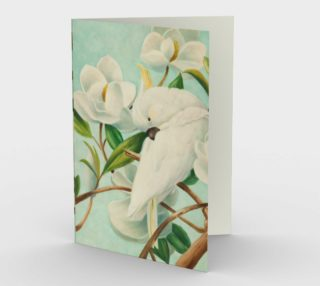 Parrot With Magnolias Stationery Card preview