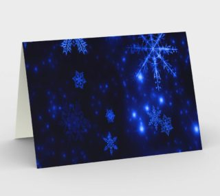 Deep Blue and Bright Snowflakes Landscape Greeting Card preview