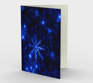 Deep Blue and Bright Snowflakes Portrait Greeting Card preview