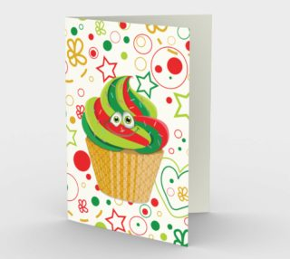 Cute Christmas Cupcake Smiley Face Greeting Card preview