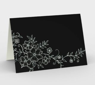 Black and White Floral Ornaments Greeting Card preview