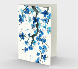 Blue Japanese Blossoms Stationery Card preview