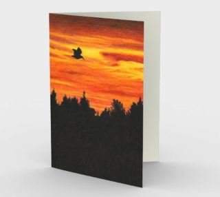 Sunset with bird Stationery Card preview