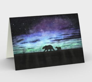 Aurora borealis and polar bears (black version) Stationery Card preview