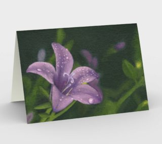 Purple lily flower with dew Stationery Card preview