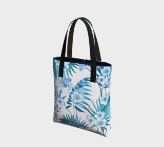 Aqua and Blue Palm, Tropical Floral preview