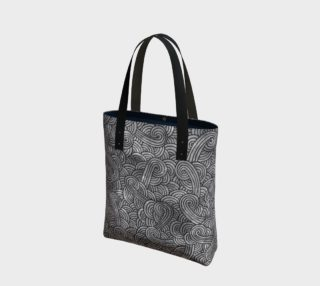 Grey and black swirls doodles Tote Bag preview