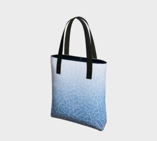 Ombré blue and white swirls doodles Tote Bag preview
