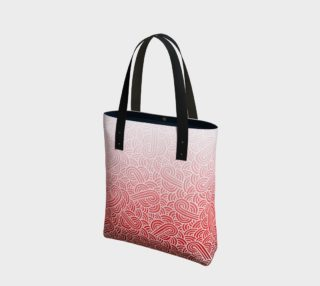 Ombré red and white swirls doodles Tote Bag preview
