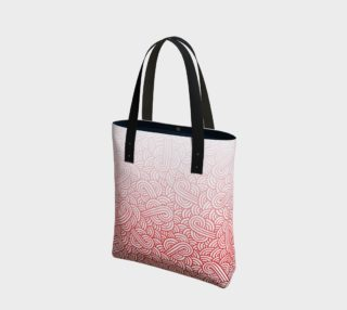 Gradient red and white swirls doodles Tote Bag preview