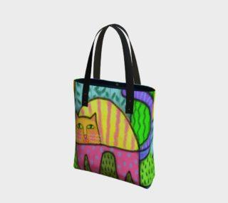 Aperçu de Funky Cat Abstract Art Tote Bag