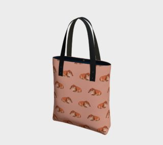 Red rabbit ram pattern Tote Bag preview