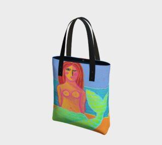 Aperçu de Red Haired Mermaid Abstract Art Shoulder Bag
