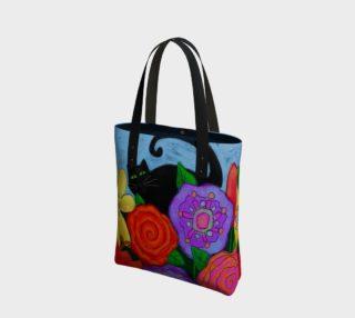 Aperçu de Black Cat in Garden Abstract Art Shoulder Bag