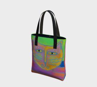 Aperçu de Hot Pink Cat Abstract Art Shoulder Bag