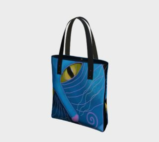 Aperçu de Blue Cat Face Abstract Art Shoulder Bag