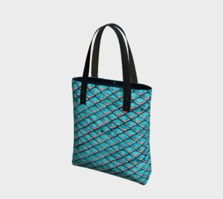 Teal blue and coral pink arapaima mermaid scales pattern Tote Bag preview