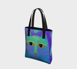 Aperçu de Blue Cat Face Abstract Art Shoulder Bag
