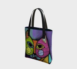 Aperçu de Colorful Calico Cat Abstract Art Shoulder Bag