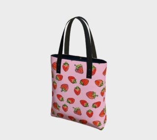 Strawberries on Pink tote preview