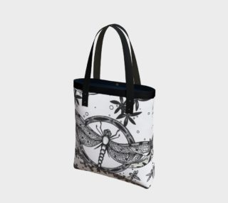 Monochrome Dragonfly Floral Tote Bag preview