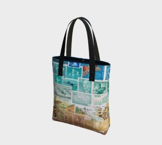 Beachy - Vintage Postage Stamp Beach Bag preview