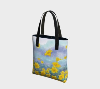Yellow day lily flowers over cloudy sky - tote preview
