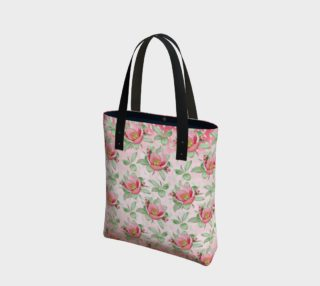 Bold Red Green Wild Rose Floral Tote Bag preview