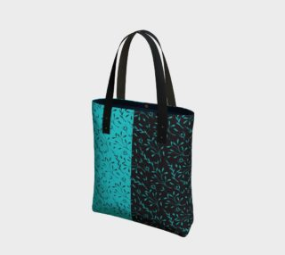 Two Tone Turquoise Black Leafy Floral Tote Bag preview