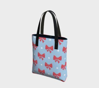 Holiday Tote with Red Bows and Polka Dots preview