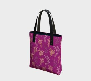 Bronze Floral Pattern on Pink Tote Bag preview