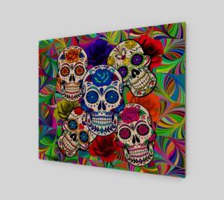 Aperçu de Sugar Skulls Circular Colorful Geometric Abstract Art Print